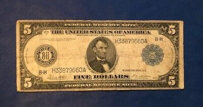 1914 $5 Federal Reserve Note St. Louis 8-H White/Mellon Circulated Note US