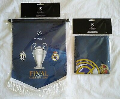 Champions League Final Cardiff 2017 - Juventus v Real Madrid - Pennant + Flag