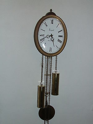 Vintage DUTCH 8 days Comtoise Wall Clock oval Enamel Dial,Bell chimes,top clock