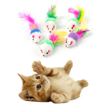 5Pcs Cat Kitten Toy Mouse Feather Tail Colorful Plush Fur Mice Funny Playing Toy