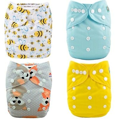 Cloth Nappies Alva Baby Pocket Nappies x 4 with inserts included