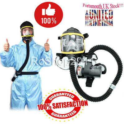 UK Electric Constant Flow Supplied Air Fed Full Face Gas Mask Respirator System
