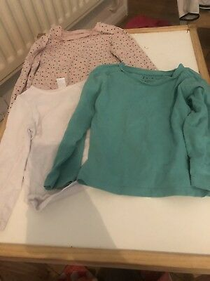 3 Girls Long Sleeve Tops Age 18-24 Months