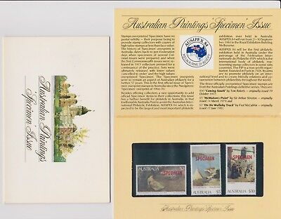1984 Ausipex 84 Australian Paintings Specimen Issue Set Of 3 Stamp Pack Fine MUH