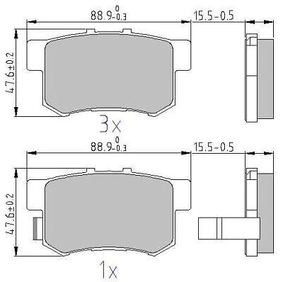 Brake Pads Set fits HONDA FR-V BE3 2.0 Rear 2005 on K20A9 ADL 43022S3N000 New