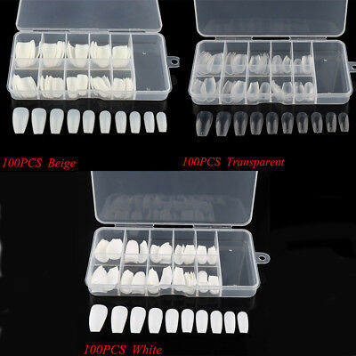 600 Pcs Long Ballerina Coffin Shape Half Cover False Nail Acrylic Nails Art Tip