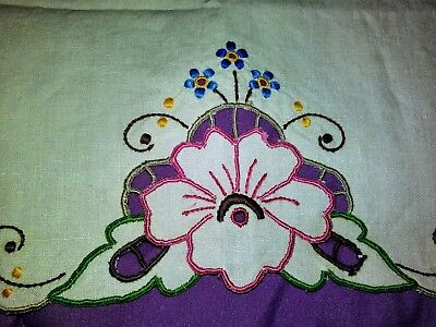 Beautiful Color Embroidered and Cutwork Madeira Linen Placemat 18 by 13 Inches