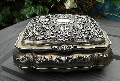 Vintage Silver Plated Rococo Large JEWELLERY TRINKET TABLE BOX