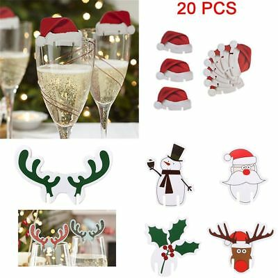 20PCS Table Champagne Marker Christmas Hats Cup Decorations Wine Glass Decor
