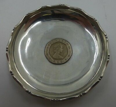 Sterling silver Dish with 1982 20 pence pce inset 925