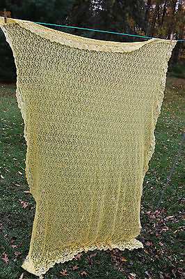 """Homemade Yellow Lace Tablecloth W/Floral Design -50"""" X 82"""""""