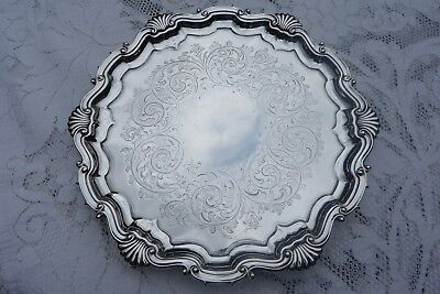 Victorian Silver Salver Tray / London 1881 Martin Hall & Co / Pie Crust Design