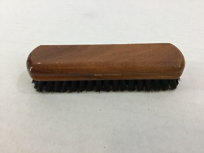 "Vintage Pure Bristle Shoe Brush Brown Wood Pure Black Made in England 4.5"" Long"