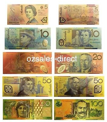 24KT Gold Colour Australian AUD Bank Note Set Rare Banknote Mint Limited Edition
