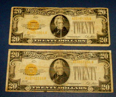 Two 1928 GOLD CERTIFICATE $20 Twenty Dollar Note