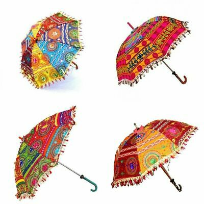 lace Decorative Indian Hand Embroidered Parasol Sun Shade Umbrella 3 Pc Lot