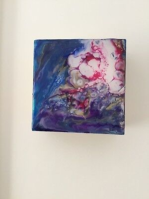 Small Abstract Painting - Acrylic Fluid Pour, Dirty Pour on Wooden art block