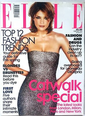 British ELLE Fashion Magazine February 1998 Helena Christensen Cover UK