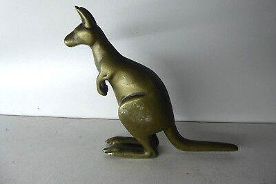 Antique Cast Brass Kangaroo Statue Australiana Figurine