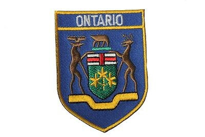 ONTARIO BLUE SHIELD Canada Provincial Flag Iron-On Patch Crest Badge