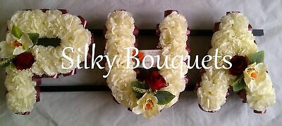 Artificial Silk Funeral Flower 3 Letter Wreath Any Name Tribute Mum Dad Nan
