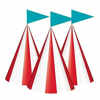 Circus Carnival Party Cone Hats Pack of 8 Kids Fancy Party Supplies Accessories