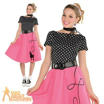 62b0988a01a8 Ladies Poodle Fancy Dress 1950s Rock n Roll Costume Adult 50s Womens Pink  Outfit