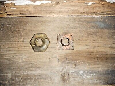 Vtg 2 Nice Cast Brass Rustic Aged Antique Door Knob Backplate Rosette/escutcheon