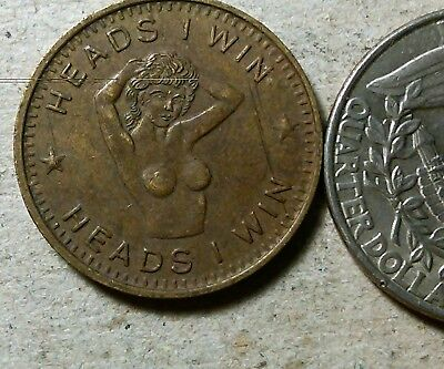Heads I win tails you lose original brass novelty token