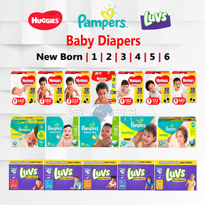 Pampers Huggies Luvs Baby Disposable Dry Diapers All sizes count lot Swaddler NB
