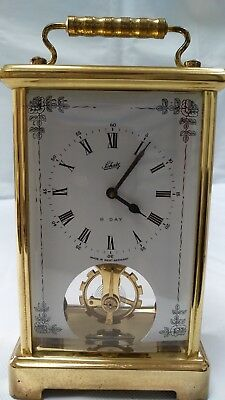 Vintage Schatz  West Germany 8-Day 2 Jewels Carriage Clock Visible Movement
