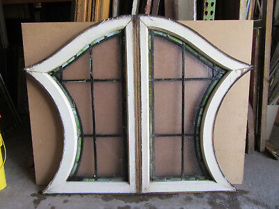 ~ Unique Pair Of Antique Stained Glass Windows ~ 24 X 38 Each ~ Salvage ~