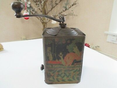 """Vintage - Antique - """"None Such"""" - Tin & Wood - Coffee Grinder - Lithograph Paint"""