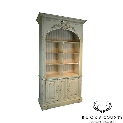 Habersham Monumental Large Gustavian Style Distressed Painted Bookcase Cabinet
