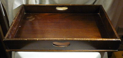 Large Antique Oak Wood Butlers Tray Deep Serving Table Top Home Storage 24.5""