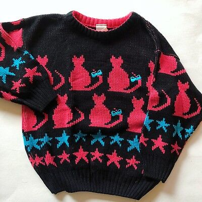 Vintage 80s Cat Star Sweater Kids 4/5 Halloween Witch Black Pink Blue