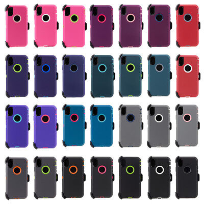 For iPhone X XR XS Max Shockproof Case Cover Clip Option Fits Otterbox Defender