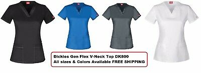 Dickies Gen Flex Scrubs DK800 Youtility V Neck Top Pick size Color Free Shipping
