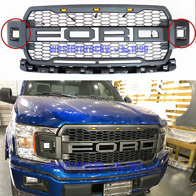 BLACK 2018-2019 Ford F150 F-150 Raptor Style Front Grille Grill W/ 2 Side Led