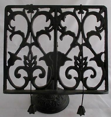 Wrought Cast Iron Cookbook Book Music Adjule Stand Holder Page Weights Vtg
