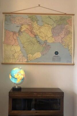 LARGE Original mid Century VINTAGE industrial SWISS school WALL MAP chart POSTER