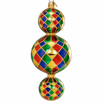 Christopher Radko 15th Anniversary Triple Harlequin Drop Christmas Ornament 2000