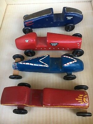 4 Vintage 1960's old Boy Scout Pinewood Derby Cars Americana