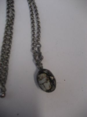 Vintage Folk Art Clay-Silver Tone Egyptian/middle Eastern Style Scarab Necklace
