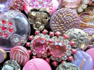 24 BUTTONS Victorian Mix of VINTAGE & NEW Glass & Rhinestones  Metal Pink&Purple