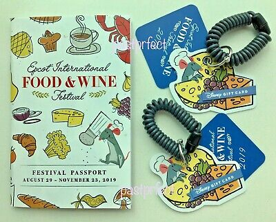 Disney 3 Epcot Gift Card Food & Wine Festival 2017 + 2018 Passport + 35th Button
