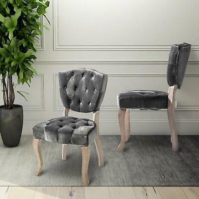 Elegant Velvet Fabric Tufted Dining Chairs Upholstered Accent Chair w/Wood Legs