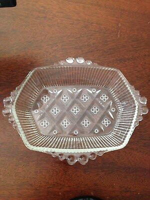 Vintage Clear 7.25 X 5 1/2 Glass Soap Dish with a Very Unique Design