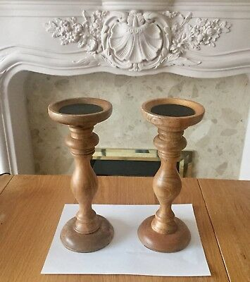 Brand new one pair of wooden candle sticks 28cm Wood Candle Sticks