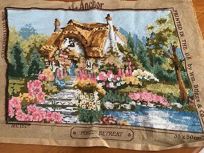 Vintage Completed Tapestry Needlepoint Cottage Forest Retreat